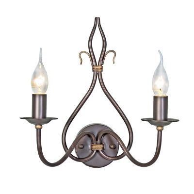 Windermere Wrought Iron Double Wall Light in a Rust/Gold Patina - ELSTEAD WM2